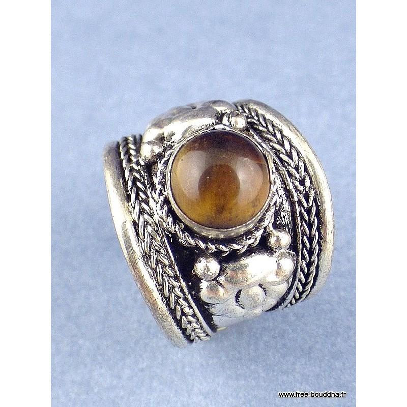 Bague tibétaine Dorjé métal blanc et Oeil de Tigre Bijoux tibetains bouddhistes  4666.16