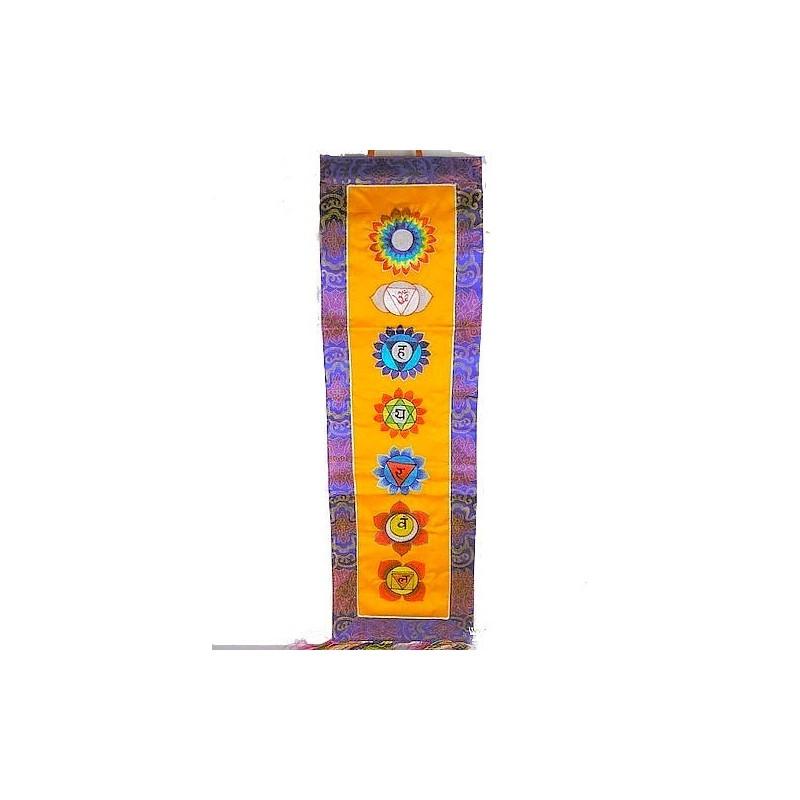 Tenture tibétaine 7 chakras couleur safran SEPTCHA1