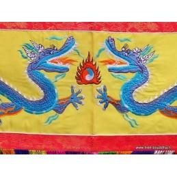 Tenture tibétaine Dragons jaune DRAG3
