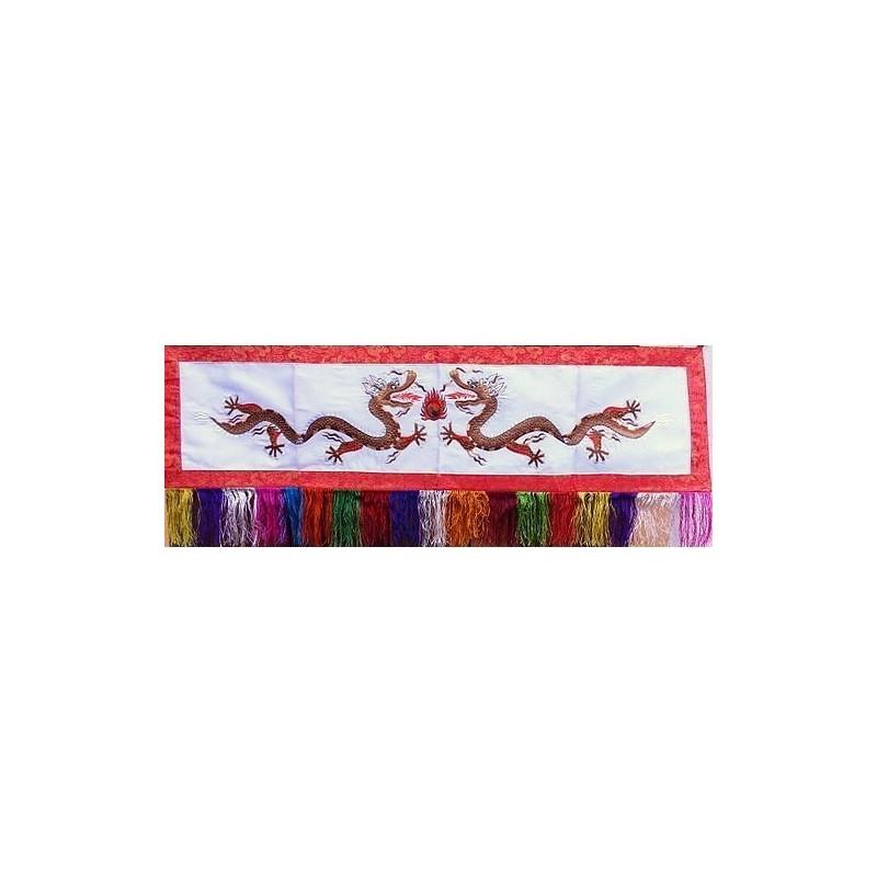 Tenture tibétaine Dragons blanche DRAG4