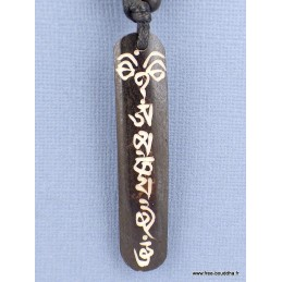 Collier tibétain Mantra vertical gravé sur os noir Bijoux tibetains bouddhistes  WN3.1