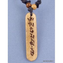 Collier tibétain Mantra sur os de yach Bijoux tibetains bouddhistes  WN3.2