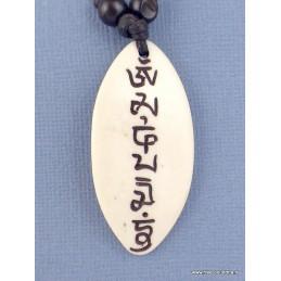 Collier tibétain en os de buffle blanc Bijoux tibetains bouddhistes  WN25