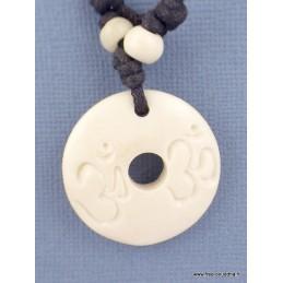 Collier tibétain Os de buffle blanc Bijoux tibetains bouddhistes  WN22