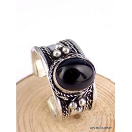 Bague tibétaine Onyx noir Bijoux tibetains bouddhistes  ref 4700.10