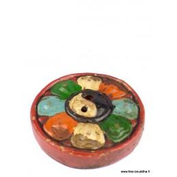 Porte encens tibétain Ying Yang en terre cuite PET3