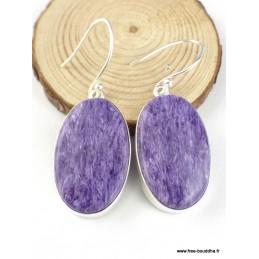 Boucles d'oreilles Charoite de Russie ovales Boucles d'oreilles en pierres PAC56