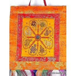 Tenture murale bouddhiste 8 Signes auspicieux jaune Tentures tibétaines Bouddha TENSAU3