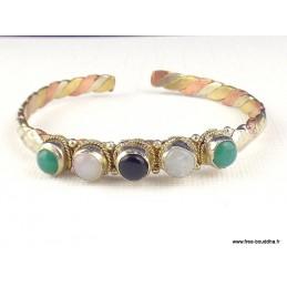 Bracelet tibétain 5 pierres Onyx Pierre de lune Bijoux tibetains bouddhistes  BR5P2