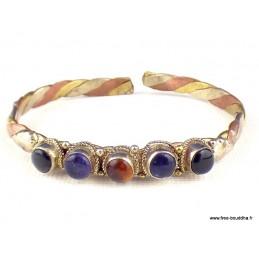 Bracelet tibétain 5 pierres Cornaline Onyx Amethyste Bijoux tibetains bouddhistes  BR5P6