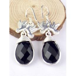 Boucles d'oreilles Colombes en onyx noir facetté Boucles d'oreilles en pierres PAC60.1