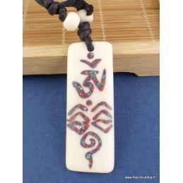 Collier tibétain OM Yeux du Bouddha Bijoux tibetains bouddhistes  WN3.4