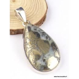 Pendentif Pyrite sur Agate forme goutte Pendentifs pierres naturelles PAC61