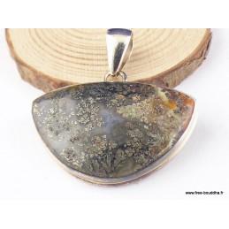 Pendentif Pyrite sur Agate demi-lune Pendentifs pierres naturelles PAC61.1