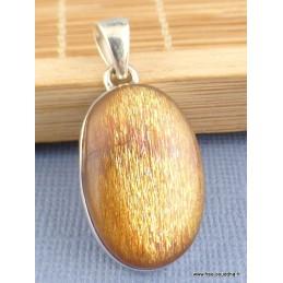 Pendentif véritable Pierre du Soleil dorée forme ovale Pendentifs pierres naturelles PAC71