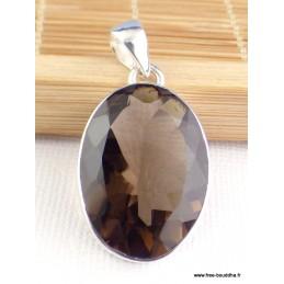 Pendentif Quartz fumé facetté oval Pendentifs pierres naturelles PAC72.1