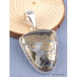 Pendentif Pyrite sur Agate demi-rond Pendentifs pierres naturelles PAC61.3