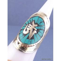 Bague tibétaine Symbole Om en turquoise Bijoux tibetains bouddhistes  REF 4181