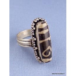 Bague tibétaine perle de DZI T 59 61 Bijoux tibetains bouddhistes  REF 3665