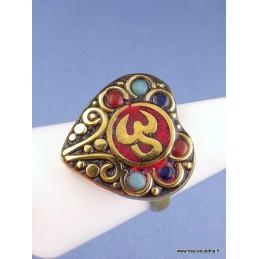 Bague Coeur Om tibétain taille ajustable Bijoux tibetains bouddhistes  ref 106D.7