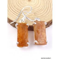 Boucles d'oreilles Cyanite Orange brute Pendentifs pierres naturelles PAC84