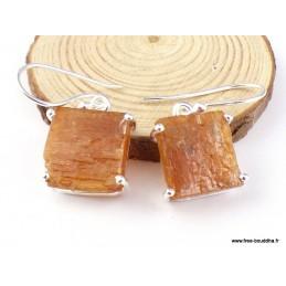 Boucles d'oreilles carrées Cyanite Orange brute Pendentifs pierres naturelles PAC84.1