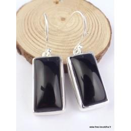 Boucles d'oreilles Onyx noir cabochon rectangulaires Boucles d'oreilles en pierres PAC85.1