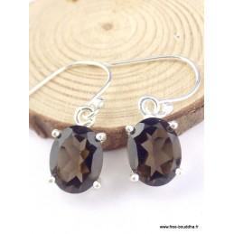 Boucles d'oreilles ovales Quartz fumé facetté Boucles d'oreilles en pierres PAC96.1