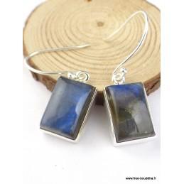 Boucles d'oreilles Labradorite bleue rectangulaire Boucles d'oreilles en pierres PAC100