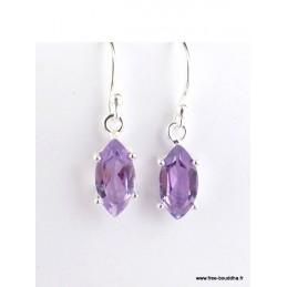 Boucles d'oreilles Améthyste violette forme marquise Boucles d'oreilles en pierres PAC101