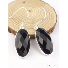 Boucles d'oreilles Onyx noir facetté ovales Boucles d'oreilles en pierres PAC102
