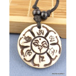 Collier bouddhiste Mantra de Chenrezi Os de buffle blanc Bijoux tibetains bouddhistes  WN27