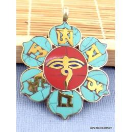 Pendentif tibétain fleur 8 signes auspicieux Bijoux tibetains bouddhistes  PT24