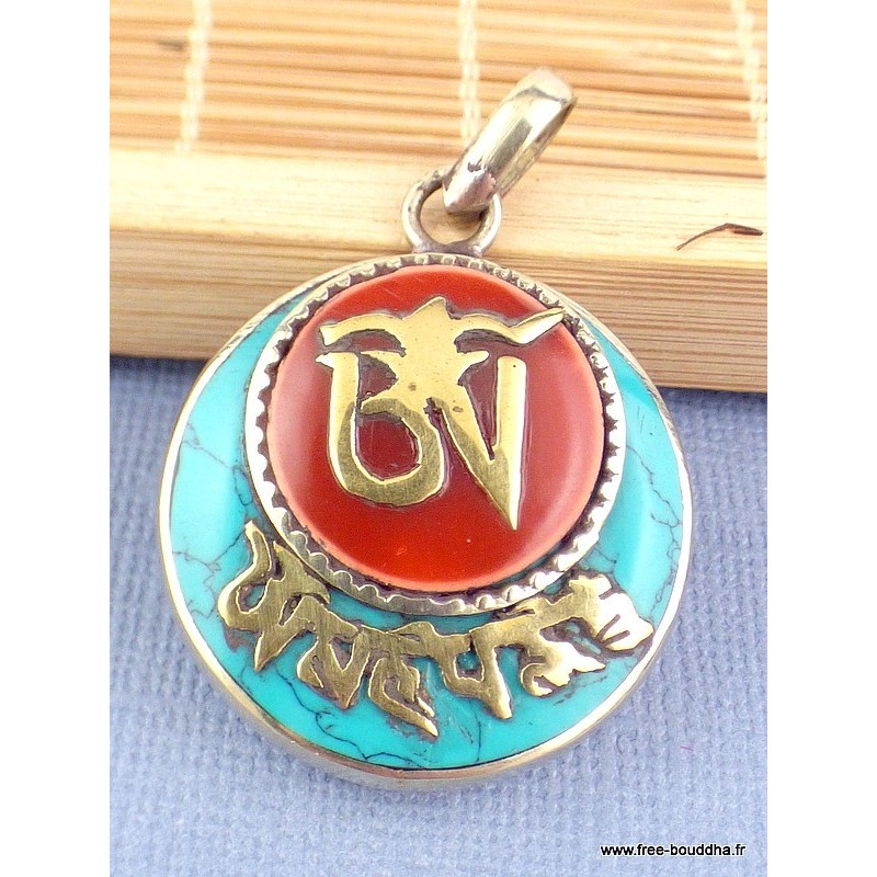 Pendentif tibétain Ghau Om et Mantra Pendentifs tibétains bouddhistes ref200