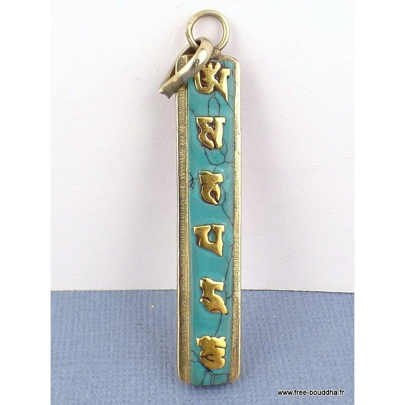 Pendentif tibétain réversible MANTRA DE CHENREZI Bijoux tibetains bouddhistes  ABT18