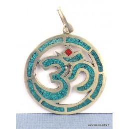 Pendentif bouddhiste OM turquoise Bijoux tibetains bouddhistes  BT17