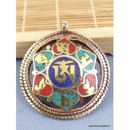 Pendentif bouddhiste réversible OM KALACHAKRA Bijoux tibetains bouddhistes  BHP43