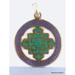 Pendentif Kalachakra turquoise et lapis lazuli Bijoux tibetains bouddhistes  ABT23.1