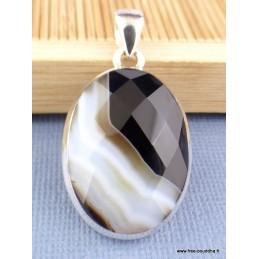 Pendentif oval Agate noire à bandes facettée Pendentifs pierres naturelles XV3