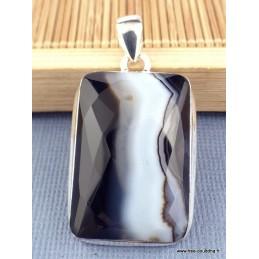 Pendentif Agate noire à bandes facettée Pendentifs pierres naturelles XV3.1