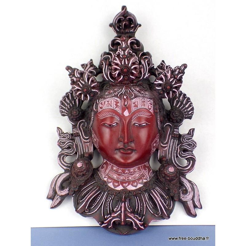 Masque mural Tara Verte peint à la main MASKTV