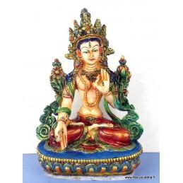 Statuette bouddhiste Tara Blanche peinte à la main STATARAB