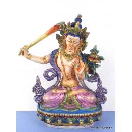 Statuette bouddhiste Manjushri peinte à la main Objets rituels bouddhistes STAMAN3