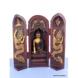 Autel temple bouddhiste Triptyque patine antique TRYP4