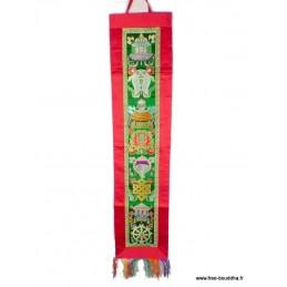 Tenture tibétaine bouddhiste Signes auspicieux rouge verte Tentures tibétaines Bouddha HQTEN3