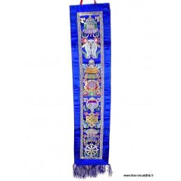 Tenture bouddhiste 8 signes de bon augure bleue Tentures tibétaines Bouddha HQTEN5