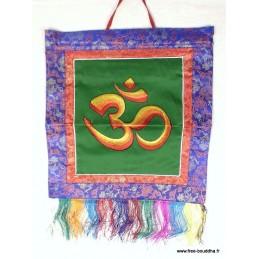 Tenture bouddhiste Bannière tenture tibétaine verte symbole OM TENOH1