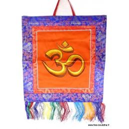 Tenture tibétaine bouddhiste Om indien safran TENOH5