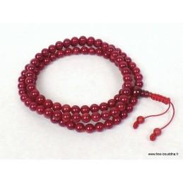 Mala bouddhiste 108 perles Véritable corail rouge BM24