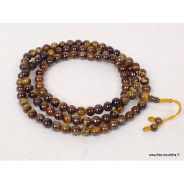 Mala tibétain 108 perles d'Oeil de Tigre BM19